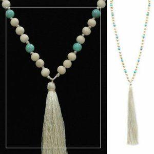 Wooden Tassel Bead Necklace Turquoise & Tan BOHO